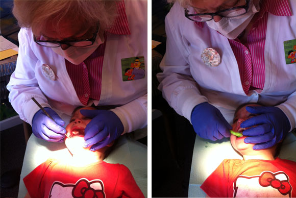 Madelyn gets tortured, I mean, examined, by the dentist.