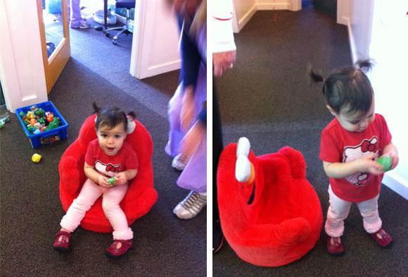 The office staff treats Madelyn like a princess!