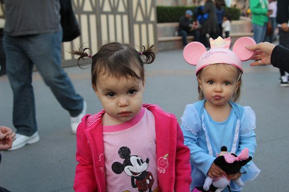 Madelyn and Día make funny faces for the camera.