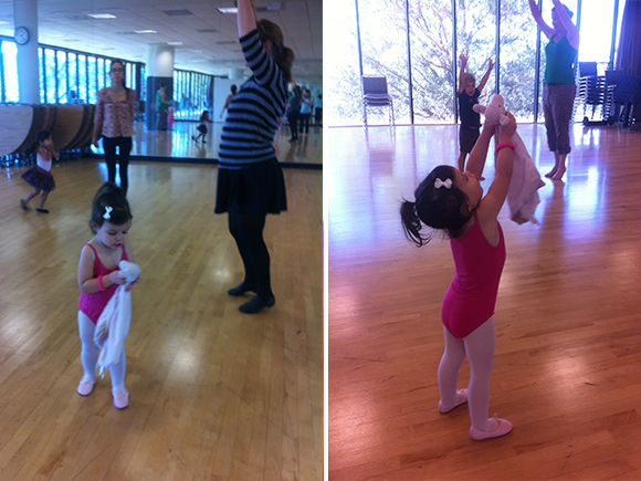 Madelyn and Lovey perform lifts a la pas de deux. (yes, we speak French now).