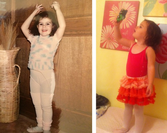 Mommy circa 1987 and Madelyn for-sure 2013 modeling pretty ballet clothes before going to class.