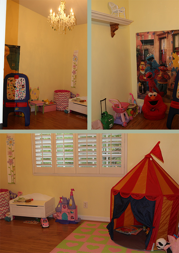 Madelyn's playroom is filled with toys and storage along the perimeter with lots of floor space. Her bedroom is almost identical to this one, so it'll be nice and easy to fill when there's another little person living in it (again: FUTURE).