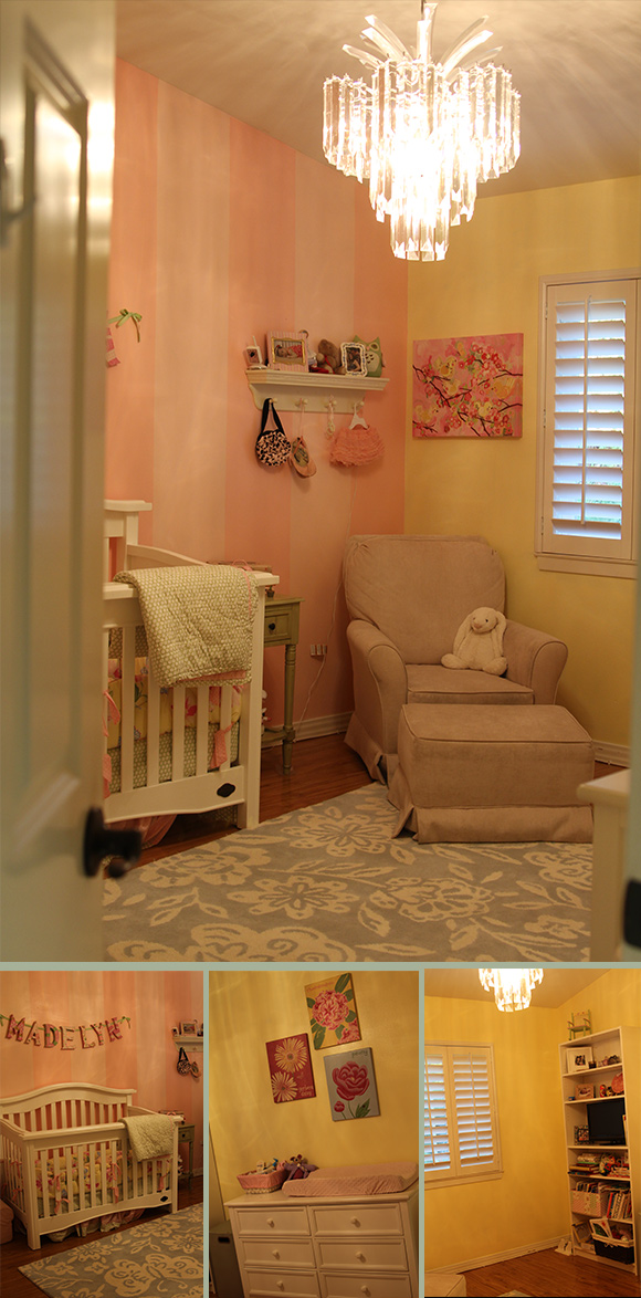 Madelyn's room is almost exactly the same as it was in our old place which was definitely on purpose. It wasn't so much to keep things easy and predictable for her, but to assuage my own sadness to leave her old room behind. We replicated the pink stripes and butter yellow walls, and the furniture seems to flow in a similar way, too. The room is much smaller than her old room, but it's actually now a normal size bedroom. I really like the space we created in here with the addition of the area rug. I realized I wanted soft floors, but didn't want to rip out the wood flooring that was already set, so I covered it with a rug and I think it all works fine. I wonder if Madelyn even remembers her old room in the condo!