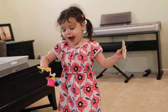 You know you're a happy person when you have a dance off with your matzah and your Minnie.