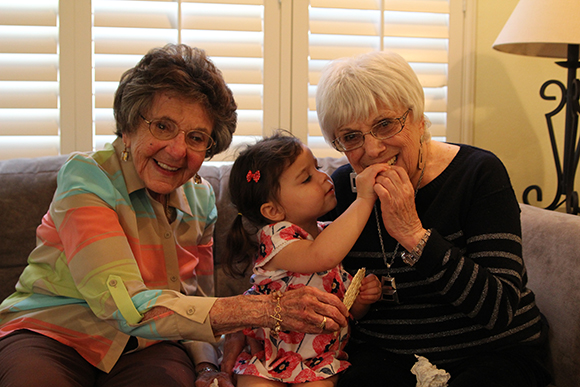 Madelyn force feeds matzah to her 92-year-old great grandmother.