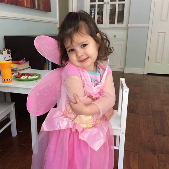 Madelyn dressed up as a fairy princess and invited her imaginary friends to dance at the ball with her just after this picture.