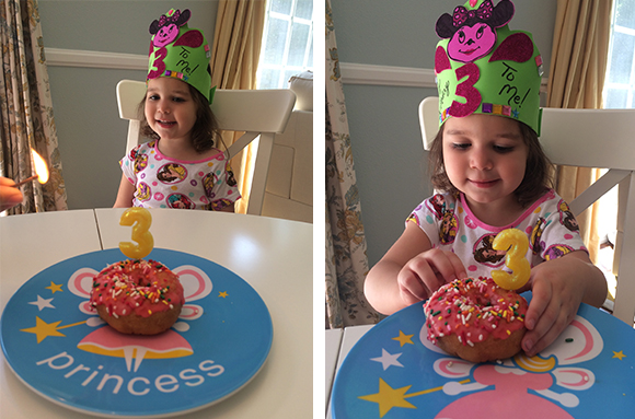 Birthday donuts: The most nutritious way to start your third year of life.