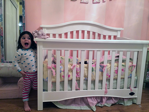 "This was right after she said: ""Mommy, can I go to sleep in my crib now?"" Pinch me."