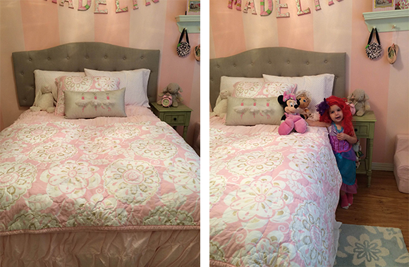 On the left, Madelyn's new bed. On the right, Ariel photobombing Madelyn's new bed.