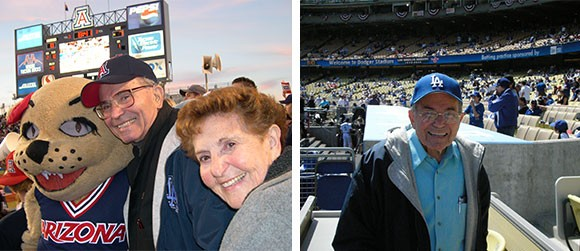 Two of many things that made my Grandpa smile: Cheering on his family members as he did when he came to see me in action at a UofA football game; and going to Dodger games with my dad -- he loved baseball.