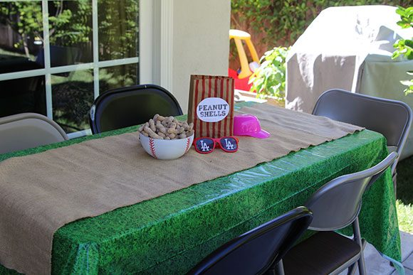 I had to have peanuts, but I did not want to have peanut SHELLS. I made peanut shell bags and affixed them to the tables. Peanut on, friends!