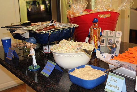 Using food as food AND decor is too fun.  We served Hebrew National (League) Hot Dogs... because Farmer John hot dogs are ... suspect. Sorry, FJ.