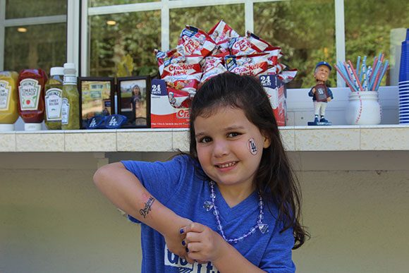 Madelyn was having a blast being all decked out in Dodger Blue from head to toe!